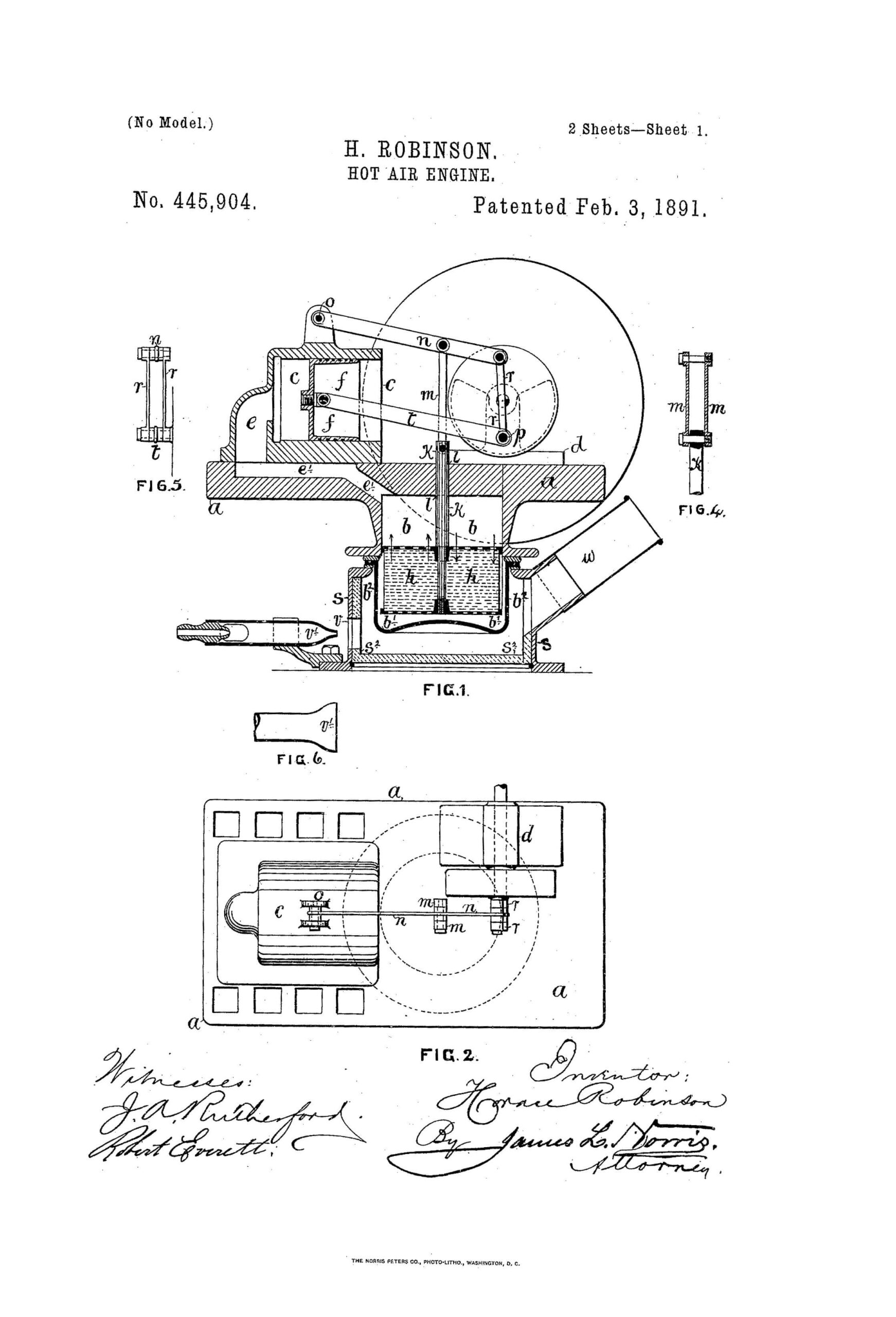 Robinson Hot Air Engine Patent