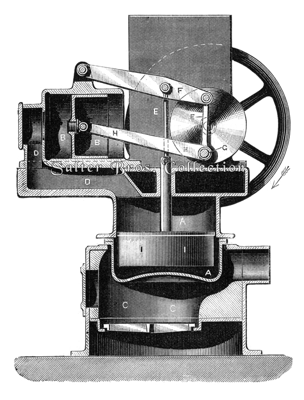 Robinson's Patent Hot Air Engine Sectioned