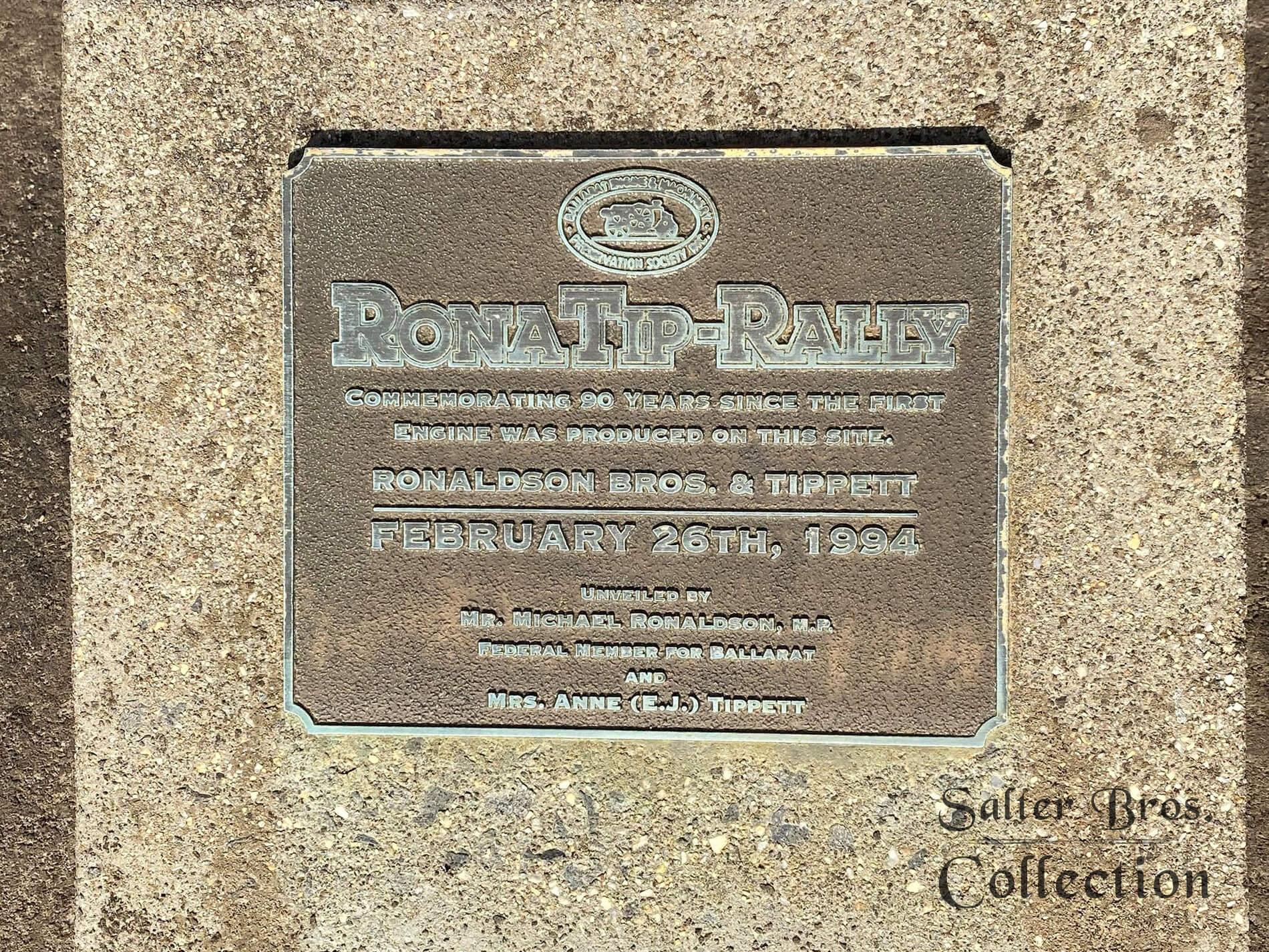Ronaldson Tippett Factory Plaque