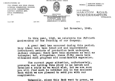 Letter released by Villiers Engineering after Frank Pountney's death in 1948